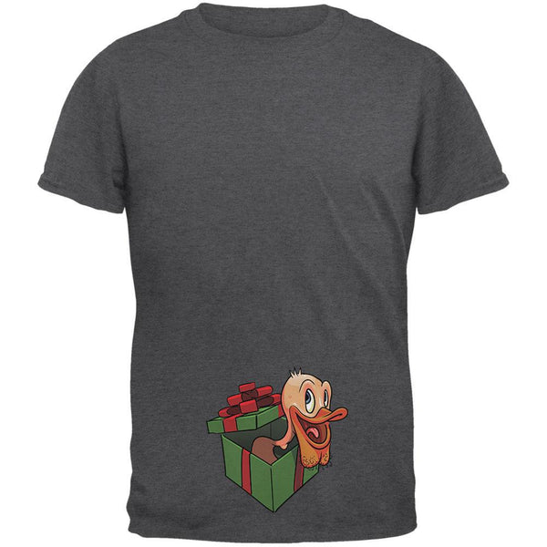 Duck In A Box Christmas Gift Dark Heather Adult T-Shirt