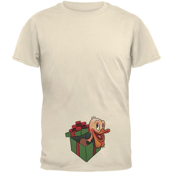 Duck In A Box Christmas Gift Natural Adult T-Shirt