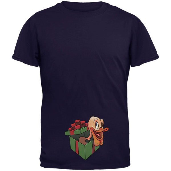 Duck In A Box Christmas Gift Navy Adult T-Shirt