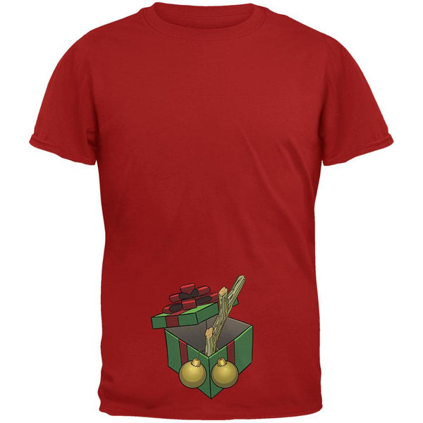 Stick In A Box Christmas Gift Cardinal Red Adult T-Shirt