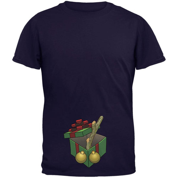 Stick In A Box Christmas Gift Navy Adult T-Shirt