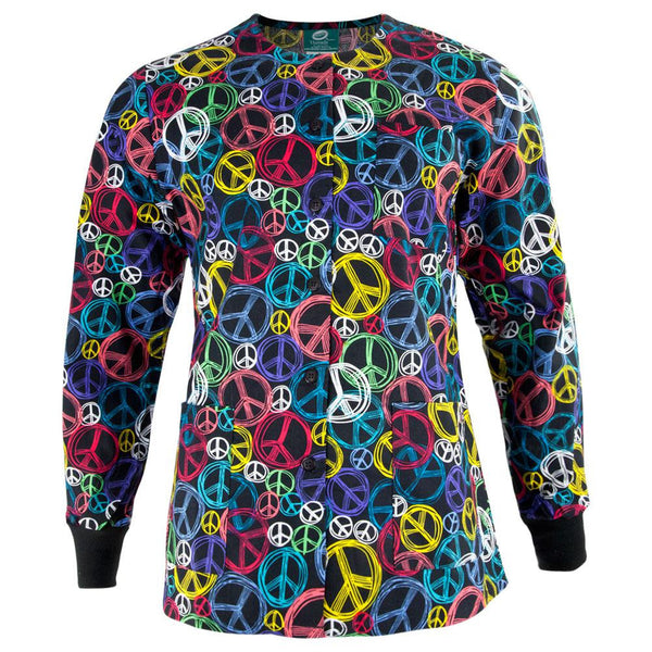 Peace Signs All-Over Adult Scrub Jacket