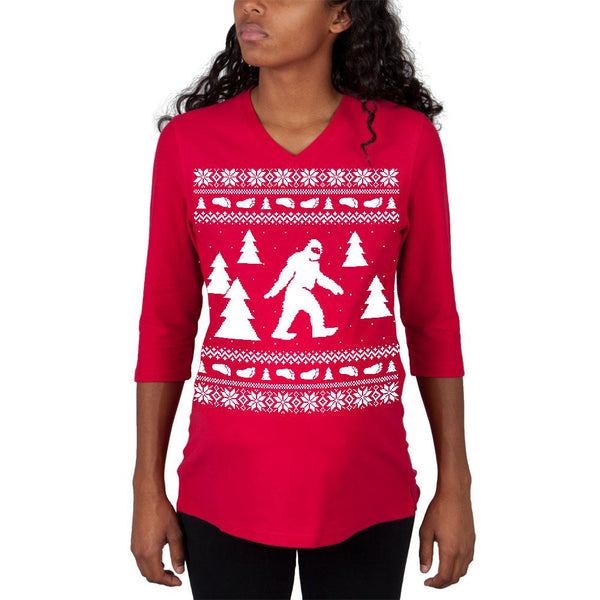 Sasquatch Ugly Christmas Sweater Red Maternity 3/4 sleeve T-shirt