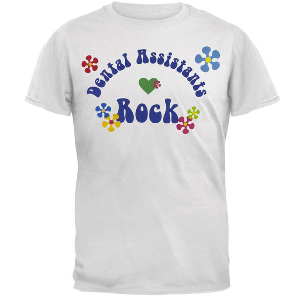 Dental Assistants Rock Hippie Logo Adult T-Shirt