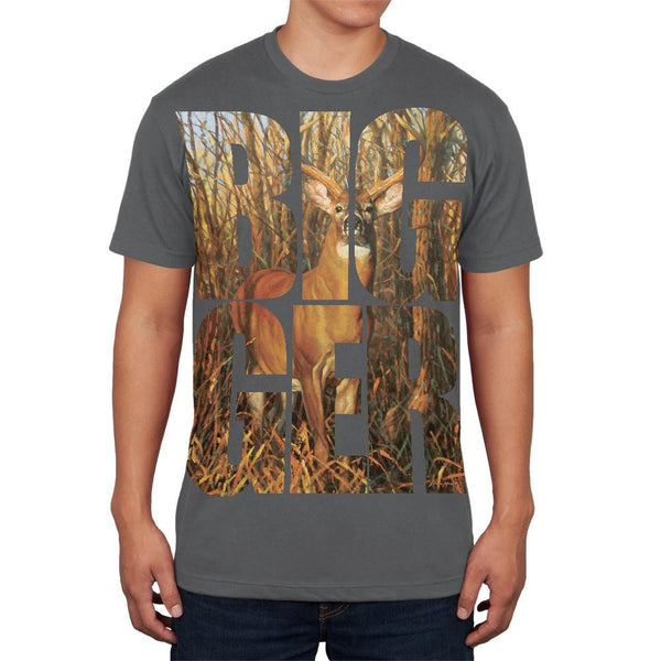 Size Does Matter Deer Buck Grey Adult Soft T-Shirt
