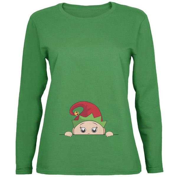 Christmas Peeking Baby Elf Green Womens Long Sleeve T-Shirt
