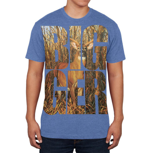 Size Does Matter Deer Buck Heather Blue Adult Soft T-Shirt