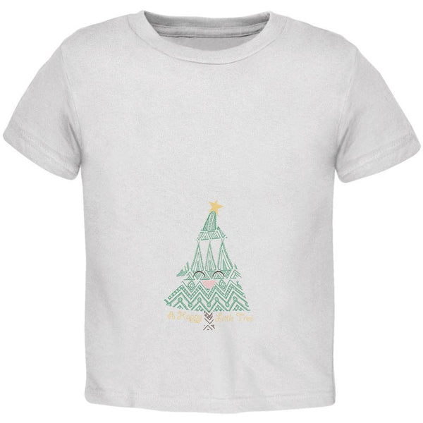 Christmas A Happy Little Tree White Toddler T-Shirt