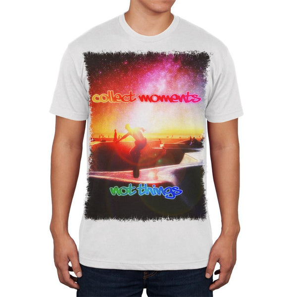 Collect Moments Not Things White Adult Soft T-Shirt