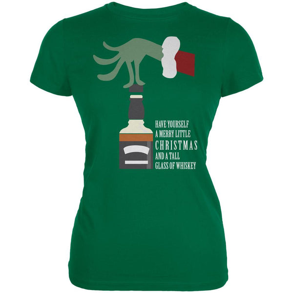 Christmas Merry Little Whiskey Kelly Green Juniors Soft T-Shirt