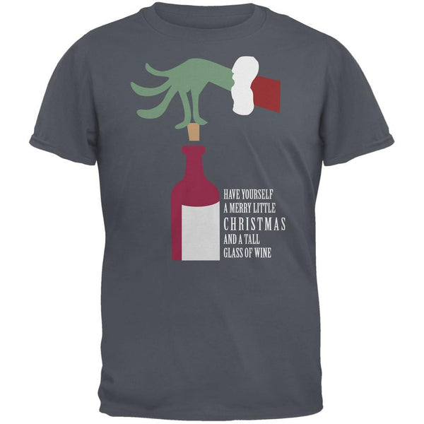 Christmas Merry Little Wine Gravel Grey Adult T-Shirt