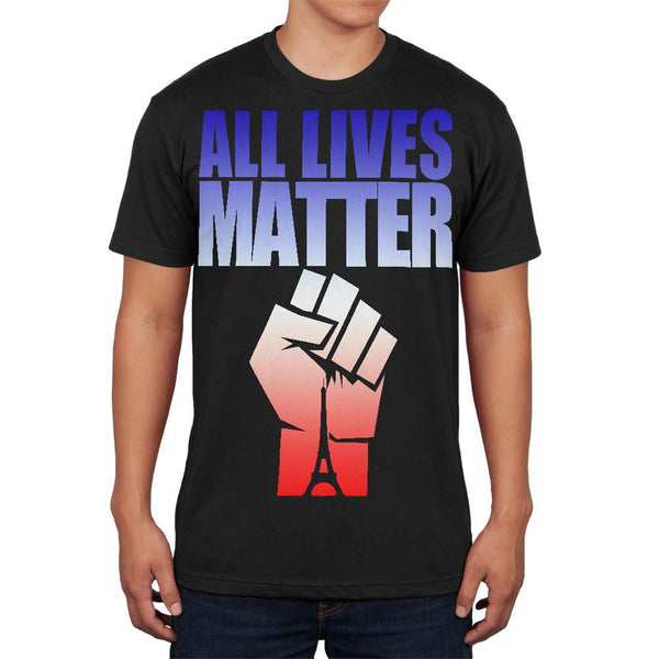 All Lives Matter Paris Raised Fist Black Adult Soft T-Shirt