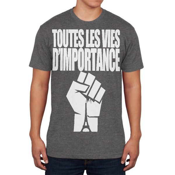 Toutes les Vies D'Importance Dark Heather Adult Soft T-Shirt