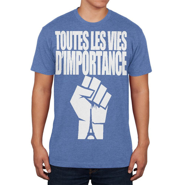 Toutes les Vies D'Importance Heather Blue Adult Soft T-Shirt