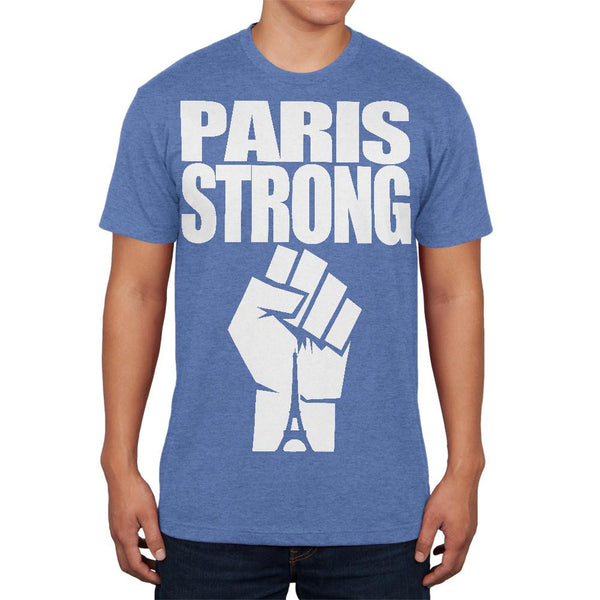 Paris Strong Heather Blue Adult Soft T-Shirt
