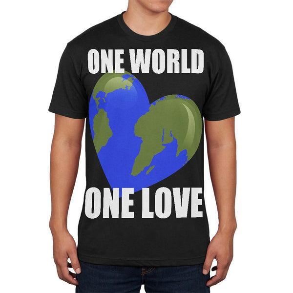 One World One Love Black Adult Soft T-Shirt