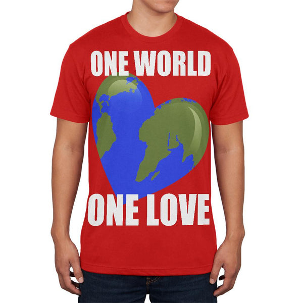 One World One Love Red Adult Soft T-Shirt
