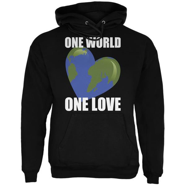 One World One Love Black Adult Hoodie