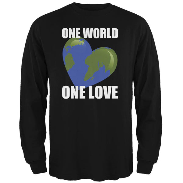 One World One Love Black Adult Long Sleeve T-Shirt
