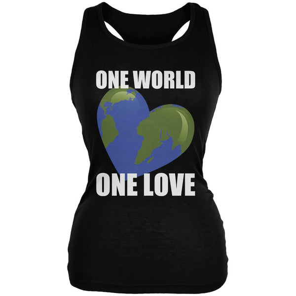 One World One Love Black Juniors Soft Tank Top