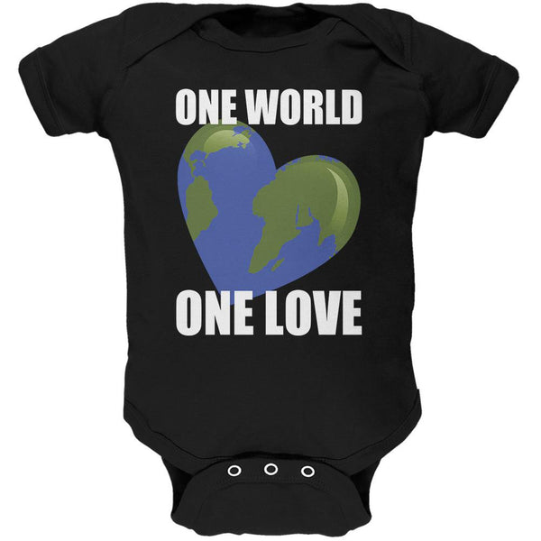 One World One Love Black Soft Baby One Piece