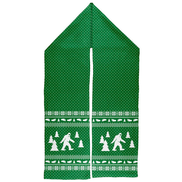 Sasquatch Ugly Christmas Sweater All Over Warm Fleece Scarf