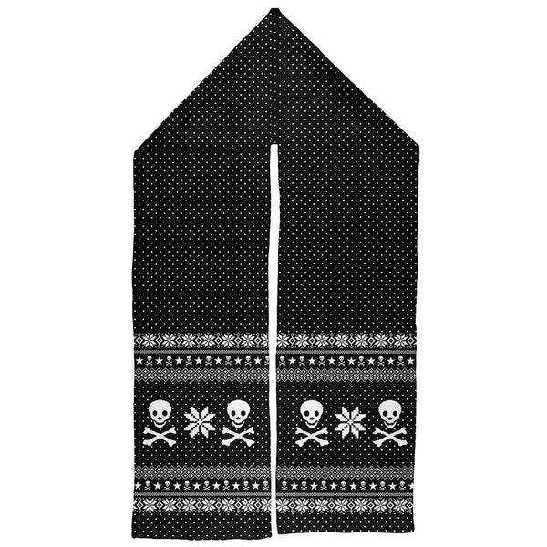 Skull & Crossbones Ugly Christmas Sweater All Over Warm Fleece Scarf