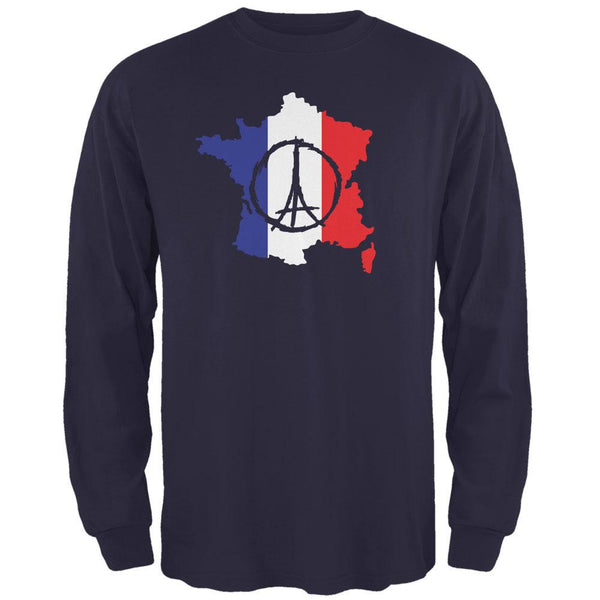 Peace for Paris France Country Navy Adult Long Sleeve T-Shirt