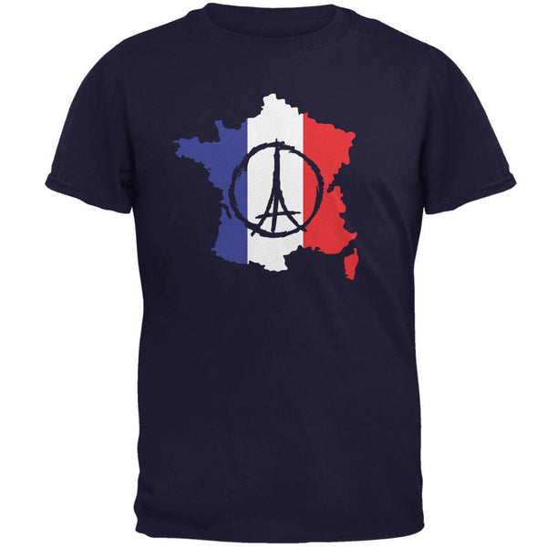 Peace for Paris France Country Navy Adult T-Shirt