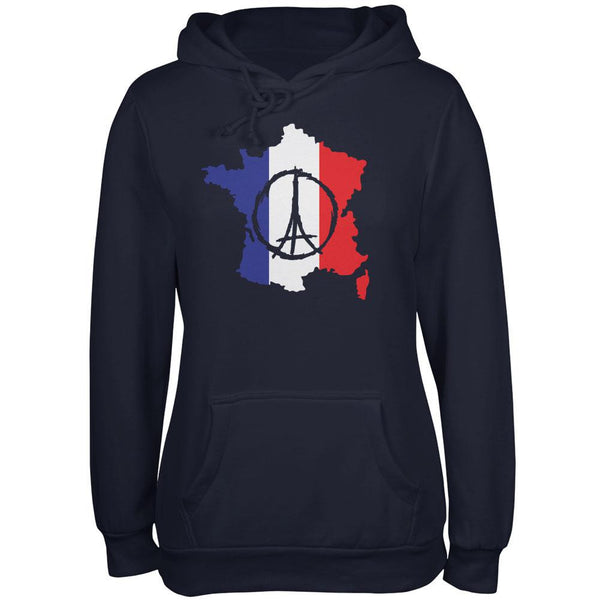 Peace for Paris France Country Navy Juniors Soft Hoodie