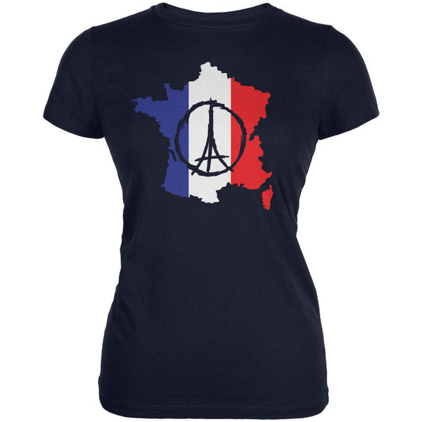 Peace for Paris France Country Navy Juniors Soft T-Shirt