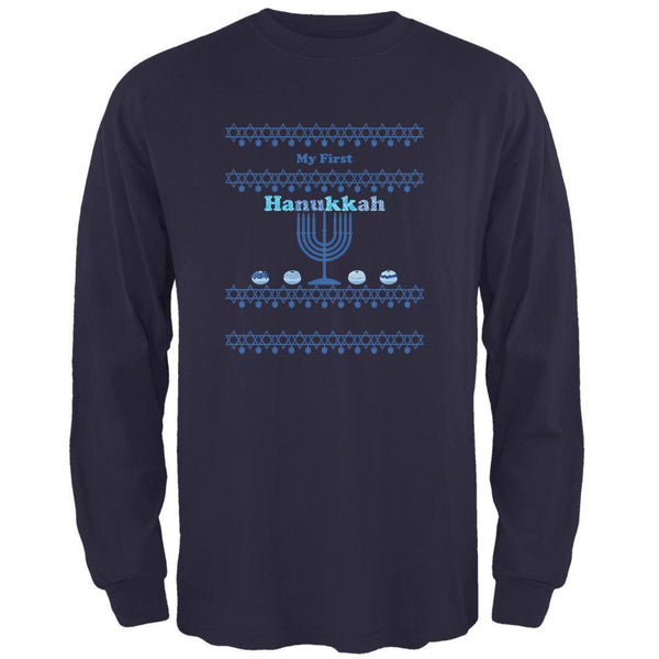 My First Hanukkah Navy Adult Long Sleeve T-Shirt