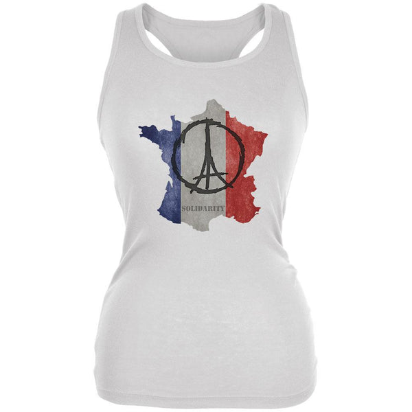 SOLIDARITY White Juniors Soft Tank Top