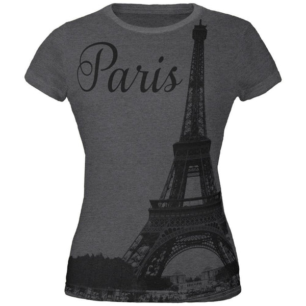 Paris Eiffel Tower All Over Dark Heather Juniors Soft T-Shirt