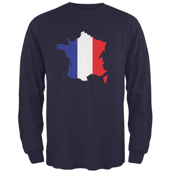 Country Silhouette France Flag Navy Adult Long Sleeve T-Shirt