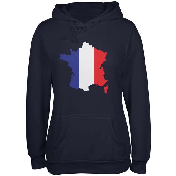 Country Silhouette France Flag Navy Juniors Soft Hoodie