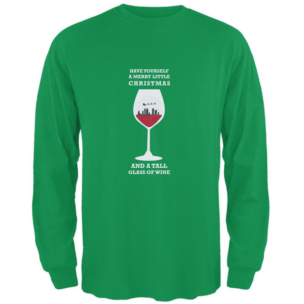 Christmas in a Glass Irish Green Adult Long Sleeve T-Shirt