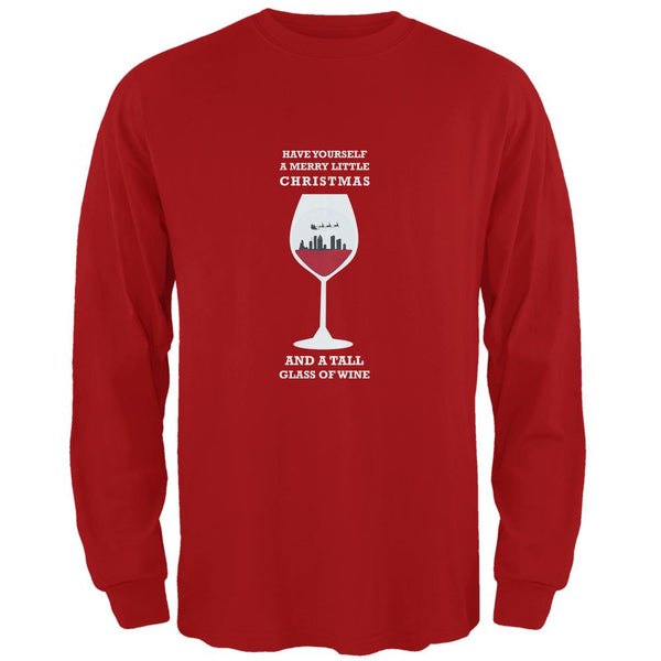 Christmas in a Glass Red Adult Long Sleeve T-Shirt