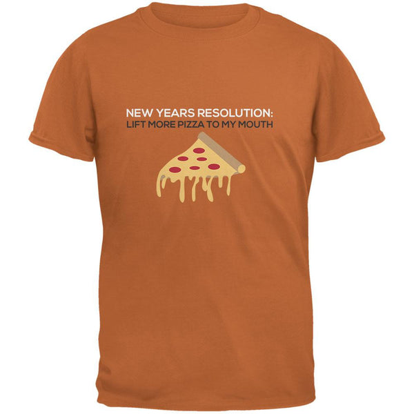 New Years Resolution Pizza Texas Orange Adult T-Shirt