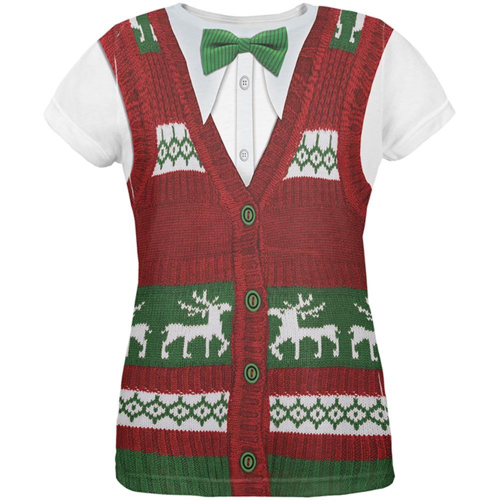 ugly christmas sweater vest all over womens t shirt - Christmas Sweater Vest