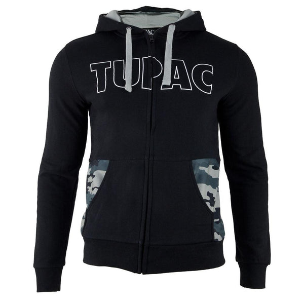Tupac - Block Letters Camo Adult Zip-Up Hoodie