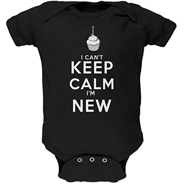 Can't Keep Calm I'm New Black Soft Baby One Piece