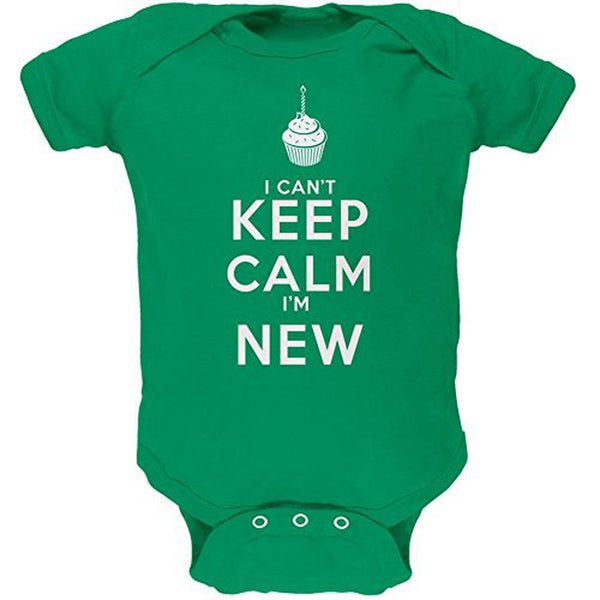 Can't Keep Calm I'm New Kelly Green Soft Baby One Piece