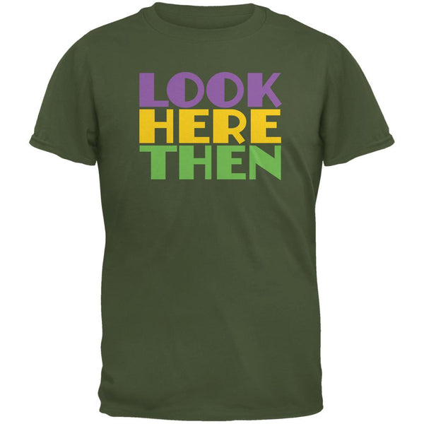 Mardi Gras Flash For Beads Funny Military Green Adult T-Shirt