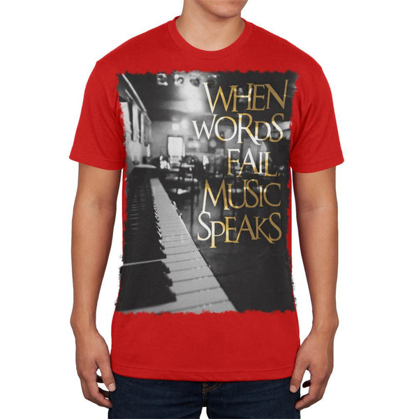 Words Fail Music Speaks Red Adult Soft T-Shirt