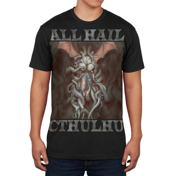 All Hail Cthulhu Black Adult Soft T-Shirt