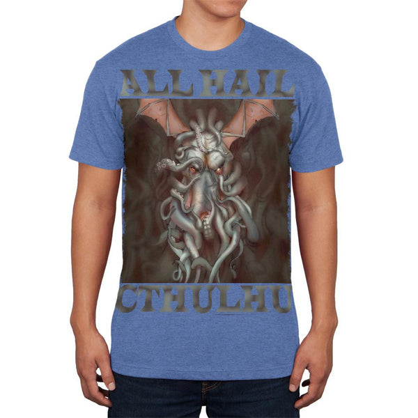 All Hail Cthulhu Heather Blue Adult Soft T-Shirt