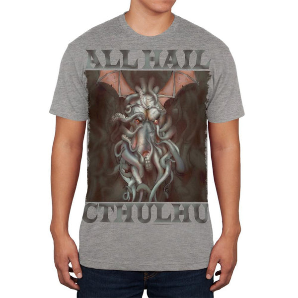 All Hail Cthulhu Heather Grey Adult Soft T-Shirt