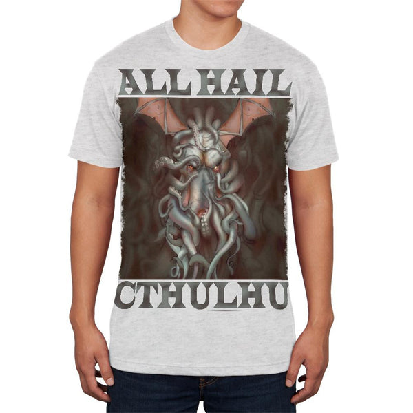 All Hail Cthulhu Heather White Adult Soft T-Shirt
