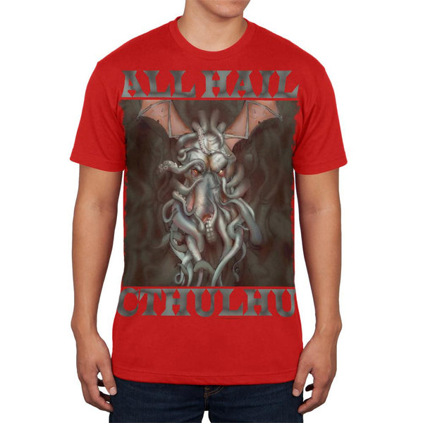 All Hail Cthulhu Red Adult Soft T-Shirt